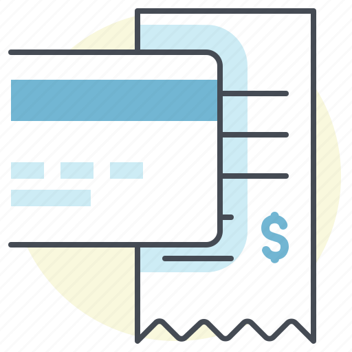 bill, credit card, debit card, ecommerce, payment, receipt, transaction icon