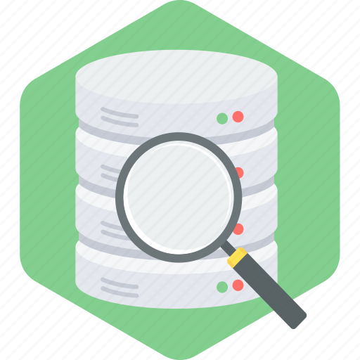 data, find, magnifier, search, storage icon