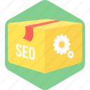 marketing, optimization, package, seo icon