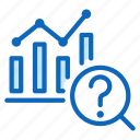 bars, chart, graph, question, research, search icon