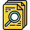 document, find, magnify, search icon