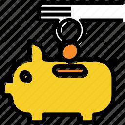 bank, coin, piggy, saving icon