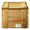 box, cargo, delivery, fragile, packed, parcel, transport, wooden box icon