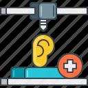 3d, aid, ear, hear, hearing, listen, sound icon