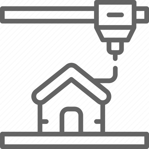 construction, engineering, house, industrial, line, printer, printing icon