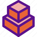 block, dimensional, geometry, interaction icon