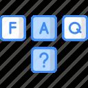 cubes, blocks, faq, help, question mark icon