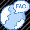 faq, question, support, help, service, global faq icon