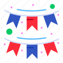 american, buntings, decoration, garland, party icon