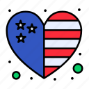 country, flag, heart, independence, july, of, usa