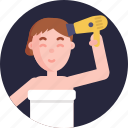drier, blower, blow drier, hairdrier, female, drying, hair icon