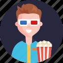 cinema, popcorns, male, 3d, glasses, movie, theater