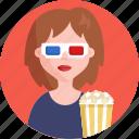 cinema, woman, 3d, glasses, popcorns, movie