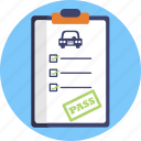 driving, school, pass, test, clip board