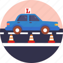driving, school, learner, car, vehicle, safety cones, road