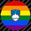 circle, flag, gay, lgbt, pride, rainbow, slovenian