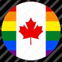 canada, circle, flag, gay, lgbt, pride, rainbow icon