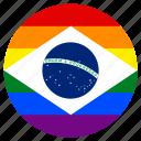 brazil, circle, flag, gay, lgbt, pride, rainbow icon