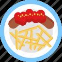 german, food, pork, sausage, fries, meal, restaurant