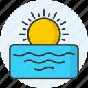 horizon, sea, sun, sunrise, sunset, weather icon