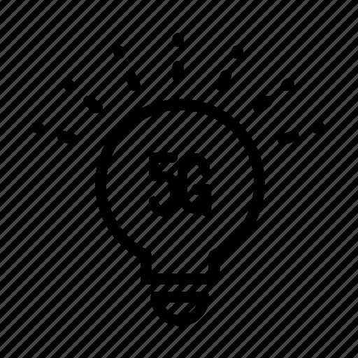 5g, bulb, communication, internet, network, smart, technology icon