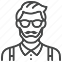 adult, avatar, glasses, hipster, man, person