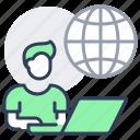 globe, home, laptop, man, online, work
