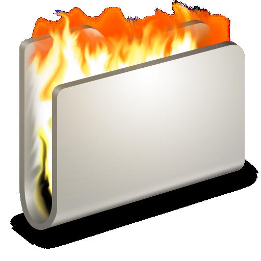 burn, fire, folder icon