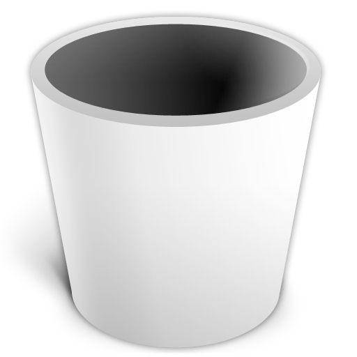 empty, trash, white icon