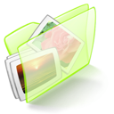 dossier, green, pictures icon
