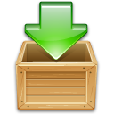 arrow, box, box arrow, download, download to box, green, load, wooden icon