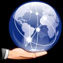 Earth, hand, internet, share, sharing, world icon