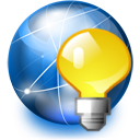 internet, light bulb, network icon