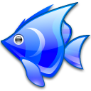 animal, blue, fish icon