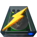 disk, lightning, power icon