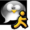 chat, man, penguin, running, tux
