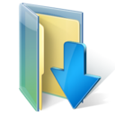 blue, down, download, folder icon