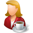 coffee, female, person icon