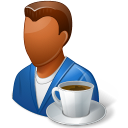 coffee, male, person icon