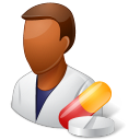dark, male, pharmacist icon