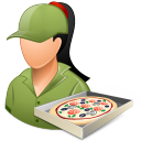 female, pizzadeliveryman