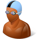 dark, male, swimmer icon