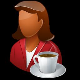 coffeebreak, dark, female, person icon