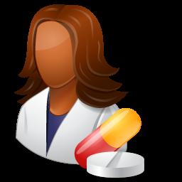 dark, female, pharmacist icon