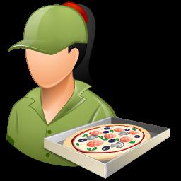 female, pizzadeliveryman icon