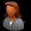 client, dark, female icon