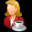 coffee, female, person icon