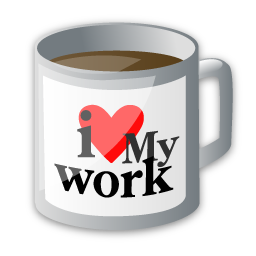coffee, cup, drink, food, i love my work, office icon