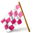 base, chequered, derelict, flag, left, map, marker, media, pink, socia icon