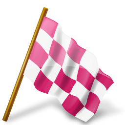 Chequered, flag, map, marker, pink, right icon - Free download